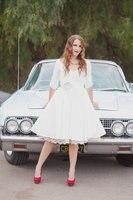 2016 Vintage 50s Short V Neck A Line Knee Length Informal Taffeta Reception Wedding Dresses Bridal