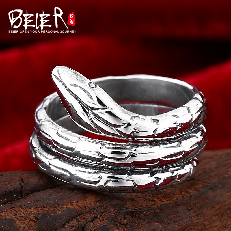 Beier 925 silver sterling jewelry 2015 punk hot sale snake coiled man ring opening D0671 beier 925 silver sterling jewelry2015 punk animal ring hailand four hands inlaid gems elephant man ring d0711