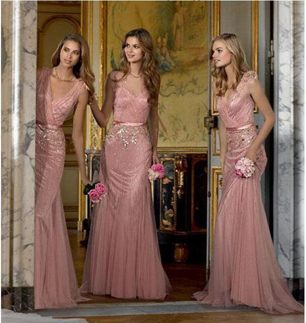 New 2017 Bridesmaid Dresses Blush Pink Tulle Deep V Neck Blingbling Sequins Appliqued Floor Length Maid Of Honor Dresses
