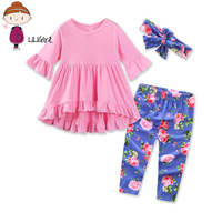 Newborn Baby Girls Brand Clothes Sets 2017 New Toddler Girl Top Level Soft Cotton Long T
