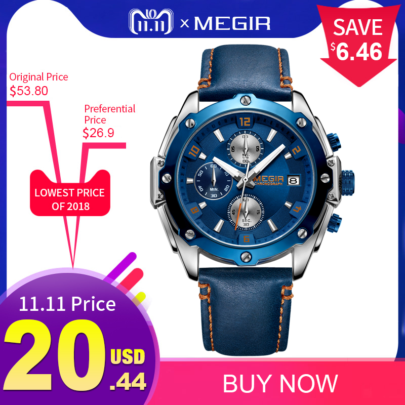 цены MEGIR Chronograph Men Watch Relogio Masculino Blue Leather Business Quartz Watch Clock Men Creative Army Military Wrist Watches