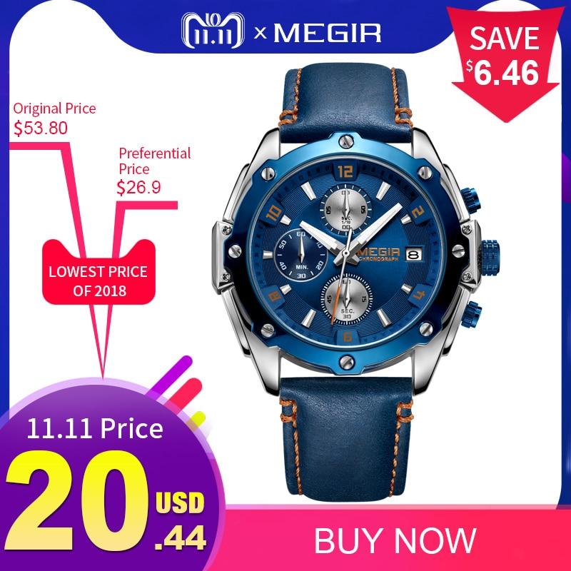 цены MEGIR Chronograph Men Watch Relogio Masculino Blue Leather Business Quartz Watch Clock Men Creative Army Military Wrist Watches