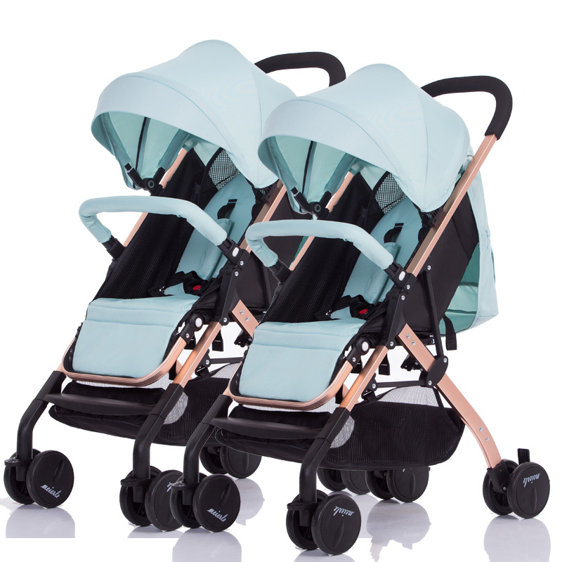 2 In1 Twins Baby Stroller Can Be Split Can Sit on A Reclining Double Stroller Baby Twins Trolly Four Wheel Baby Carriage