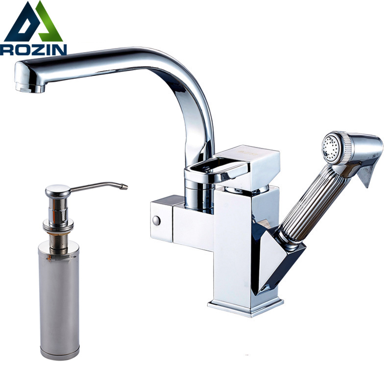Bright Chrome Swivel Spout Kitchen Sink Faucet Deck Install Pull Out Bathroom Kitchen Mixer Tap 220ml Soap Dispenser