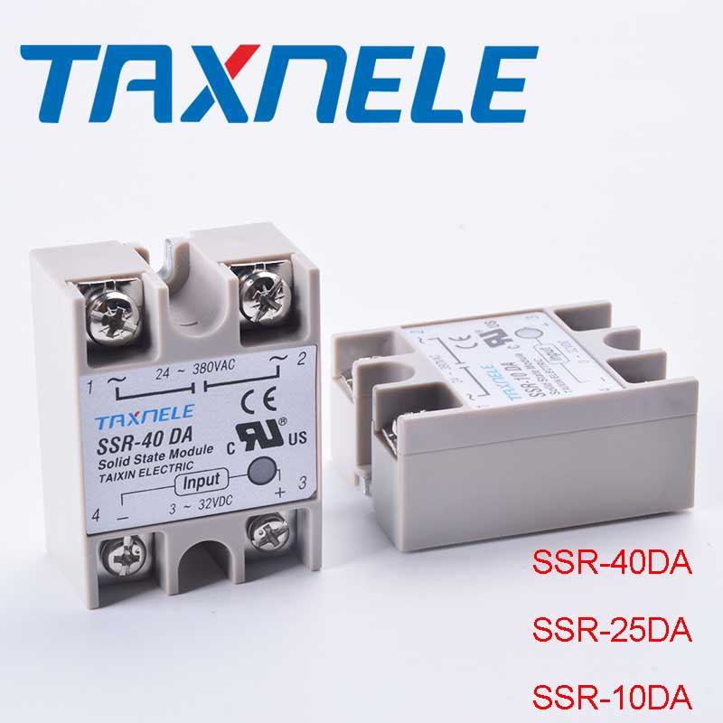 Single Phase Solid State Relay SSR-40DA SSR-25DA SSR-10DA DC To AC 3-32VDC Input 24-380VAC Output Solid State Relay