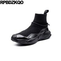 Черные кроссовки из овечьей кожи на толстой подошве, ботинки для тренировок из лакированной кожи в стиле пэчворк, обувь на высокой подошве,