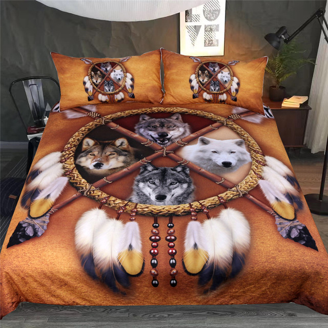 4 Wolves Dreamcatcher Bedding Set
