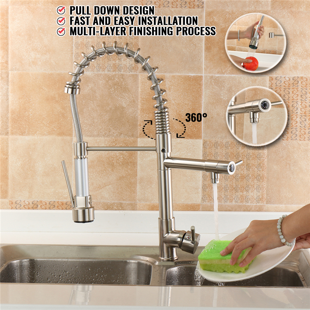 Pull Down Kitchen Faucet 360 Rotation Spout Single Hole Sink Mixer Taps Deck Mounted Hot And Cold Spring Silver Chrome FinishPull Down Kitchen Faucet 360 Rotation Spout Single Hole Sink Mixer Taps Deck Mounted Hot And Cold Spring Silver Chrome Finish