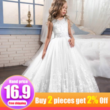 Children's party dress christmas clothing flower party girl dress bow lace elegant  girl clothes child kids wedding costume недорого