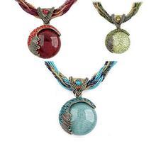 Jeffreeing Star Celebrity Round Reiki Ball Crystal Women Lucky Divination Stone Pendant Necklace Stone Pendant Short