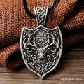 1pcs Legendary Viking Aegishjalmur Amulet Pendant Necklace Large Double Deer Sekira Viking Nordic Talisman Pendant Necklace