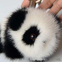 Малая панда мех украшения норки действительно волосы мяч брелок сумка Автомобиль Подвеска для модных женщин Подарки