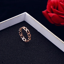 Love Heart Forever Rose Gold Color Rings Titanium steel For Women Bijoux Jewelry Wedding Girl Cute Simple Metal Ring