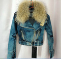 Exclusive special cowboy suit  with geniune raccoon fur collar jeans  coat women fashion denim jacket with fur winter Locomotive