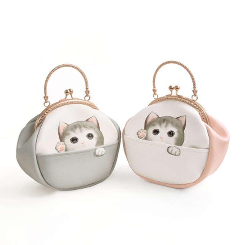 2017 New Arrival Fresh Lolita Style Cartoon Cat Chain Character Ball Clasp Metal Frame Crossbody Women's Shoulder Tote Shell Bag cute cat bag locks metal buckle snap clasp closure diy bag accessories