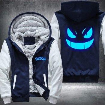 USA size Men Women Pokemon Pocket Monster Gengar Luminous Zipper Jacket Sweatshirts Thicken Hoodie Coat Clothing Casual 2