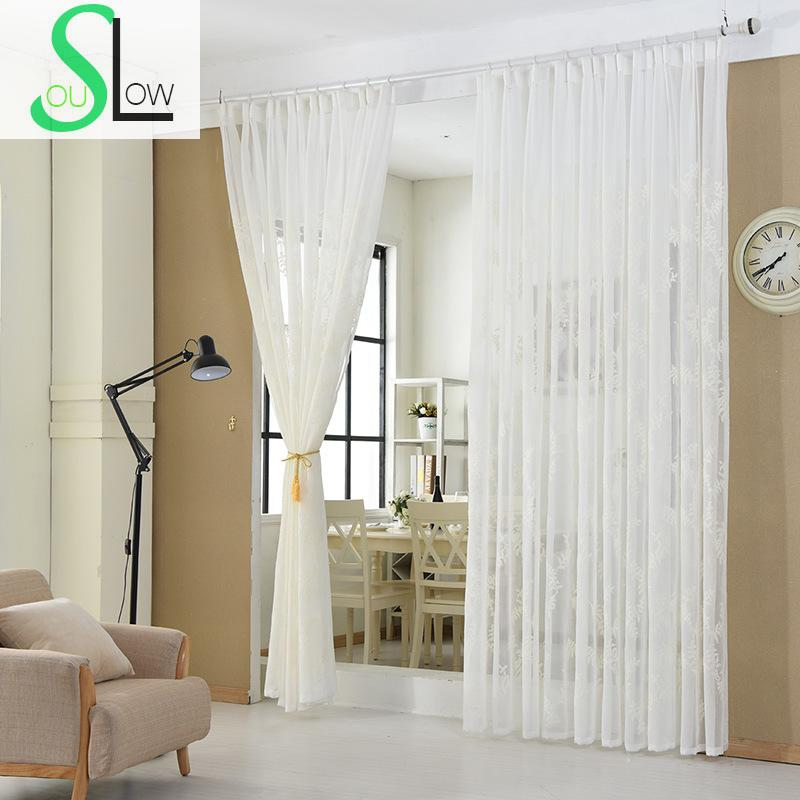 Slow Soul White Cotton Curtain French Window Embroidered Floral Curtains  For Living Room Cortinas Tulle Kitchen