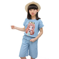 Kids Clothing Girls Cartoon Printing Sets for Summer Child Denim T-shirt + Shorts Suits Two piece suit 4 6 7 8 9 10 11 12 Years