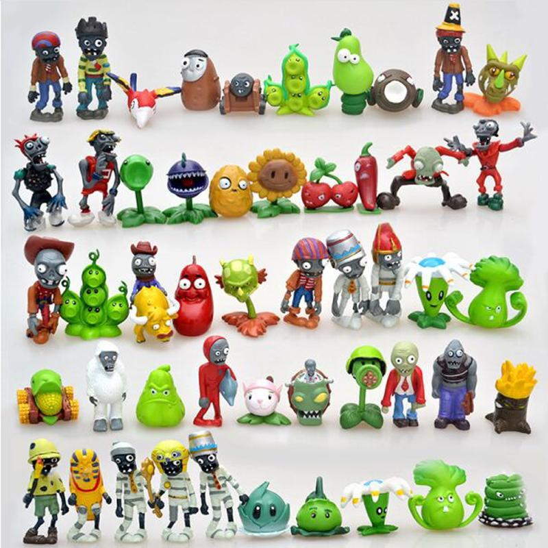 50pcs/lot Plants vs Zombies PVZ Figure Toys 3-8cm Full Set Plants + Zombies PVC Action Figure Collection Model Toy Gift for Kids