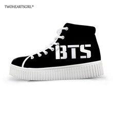 Twoheartsgirl Black Women Flat Shoes Kpop BTS Creepers Shoes for Women  Breathable Female Platform Shoes High 078b77c98d99