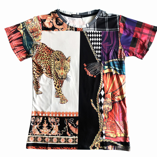 Seestern brand new printed men's t-shirt leopard matching lattice string flower western style youth T-shirt tops character