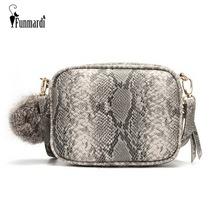 FUNMARDI New Women Messenger Bags Snake Skin Designer Shoulder Bag For Women PU Leather Crossbody Bags With Hairball WLHB1811