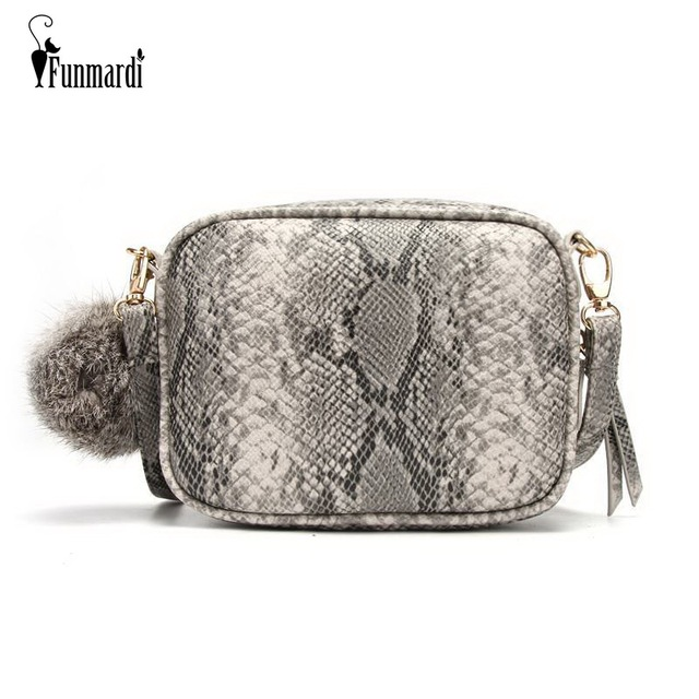 FUNMARDI New Women Messenger Bags Snake Skin Designer Shoulder Bag For Women  PU Leather Crossbody Bags 564fcab660b3f