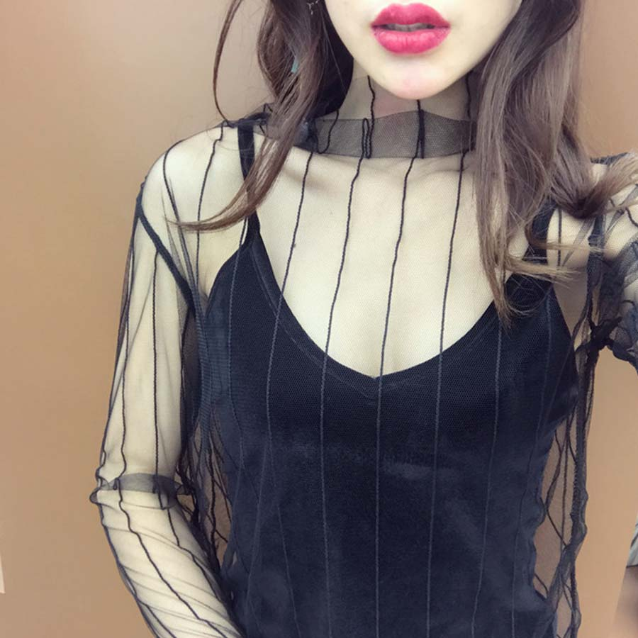 Sexy Net Yarn Perspective Long-sleeves Umonn store 2017 New Women Mesh Stitching Lace Black Dot Snowflake Shirt Female Tops