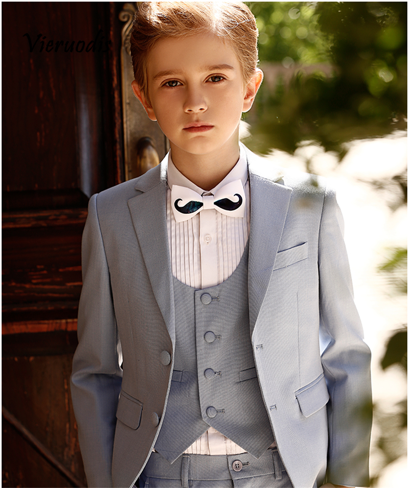 Light Grey Kid's 3 Piece Wedding Groom Tuxedos Boys Evening Party Prom Suits
