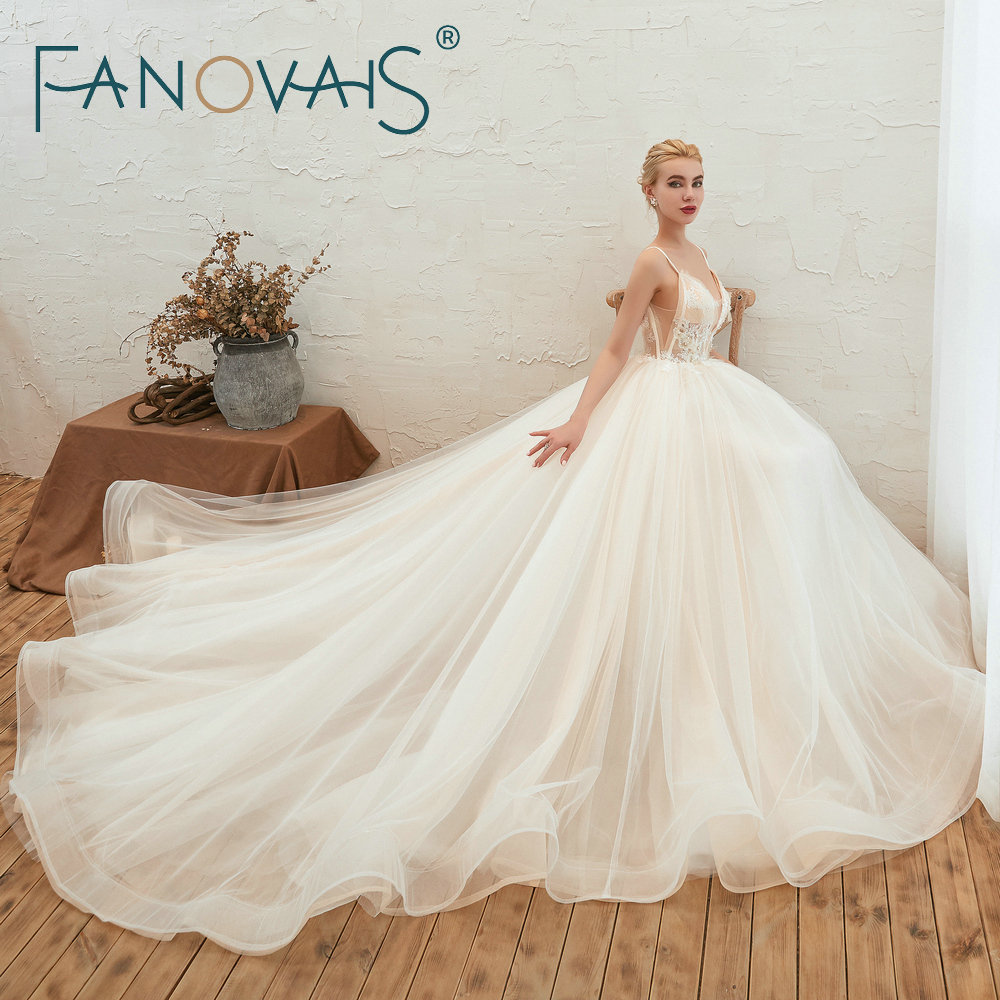 Fanovaid Deep V Neck Lace Tulle Long Train Elegant Vintage Wedding Dresses suknia slubna gelinlik	vestidos de novia 2019Wedding Dresses   -