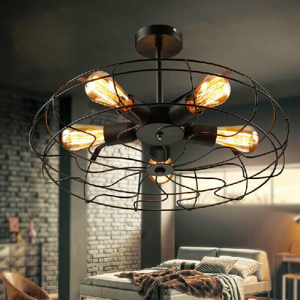 American Country RH Vintage Fans Ceiling Lights Fixture Retro European  Ceiling Lamps Home Indoor Lighting Bed