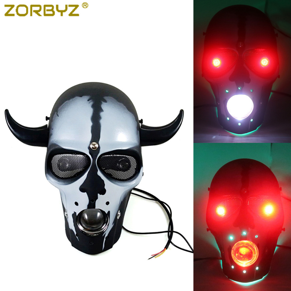 Motorcycle Silver Skull Head Light Headlight Lamp LED For Harley Chopper Bobber