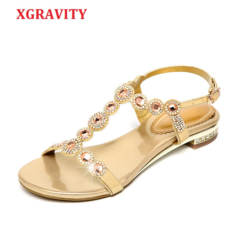 XGRAVITY 2019 New Ladies Casual Summer Shoes Sexy Crystal Rhinestone Design Women Sandal Hot Ladies Genuine Leather Shoe B292-2XGRAVITY 2019 New Ladies Casual Summer Shoes Sexy Crystal Rhinestone Design Women Sandal Hot Ladies Genuine Leather Shoe B292-2