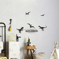 DIY Dinosaurs Vinyl Wall Stickers Customized Name Decorative Extinct Animals Mural Decal For Kids Boys Room