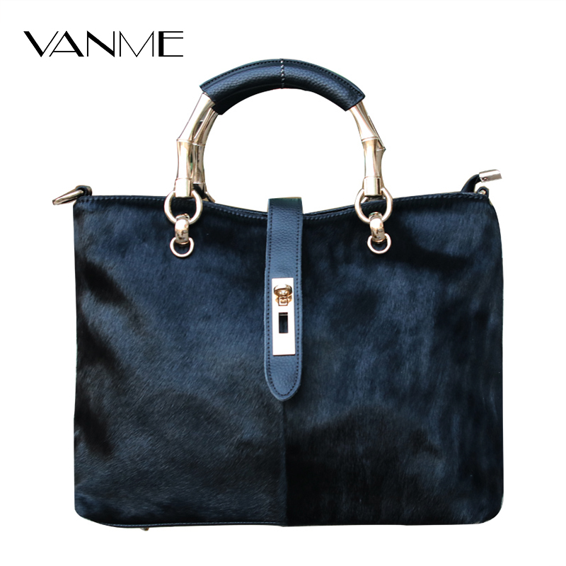2017 Winter Women Horse Fur Leather Messenger Bags Luxury Solid Female Flap Bags High Quality Ladies Crossbody Bags