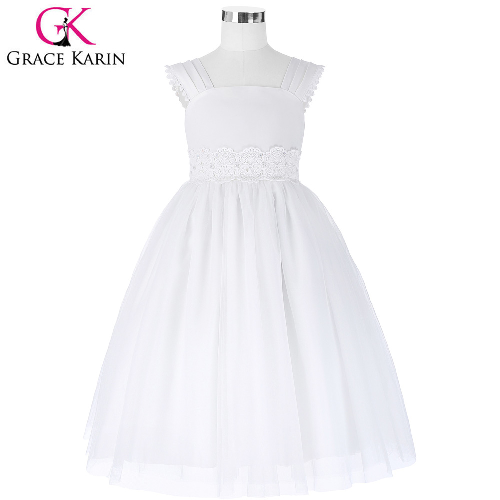Grace Karin White Tulle Flower Girl Dresses Princess Sleeveless