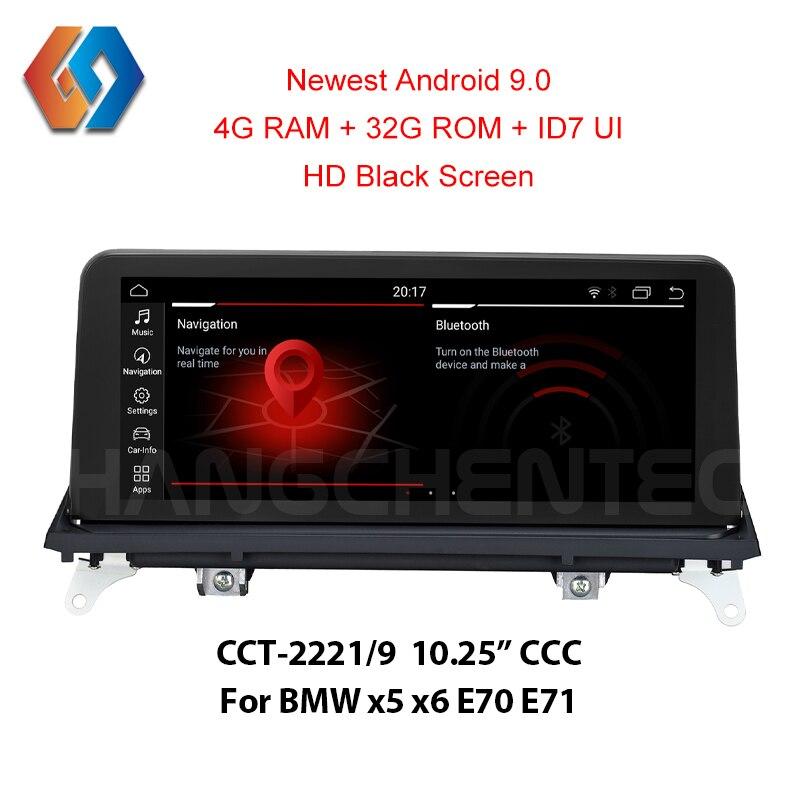 4G ram Android 9.0 Stereo Car Para BMW x5 e70 X5 E70 X6 E71 CCC Vídeo HD 1920x720 Tela Preta Toque Carro Multimídia Rádio GPS Nav