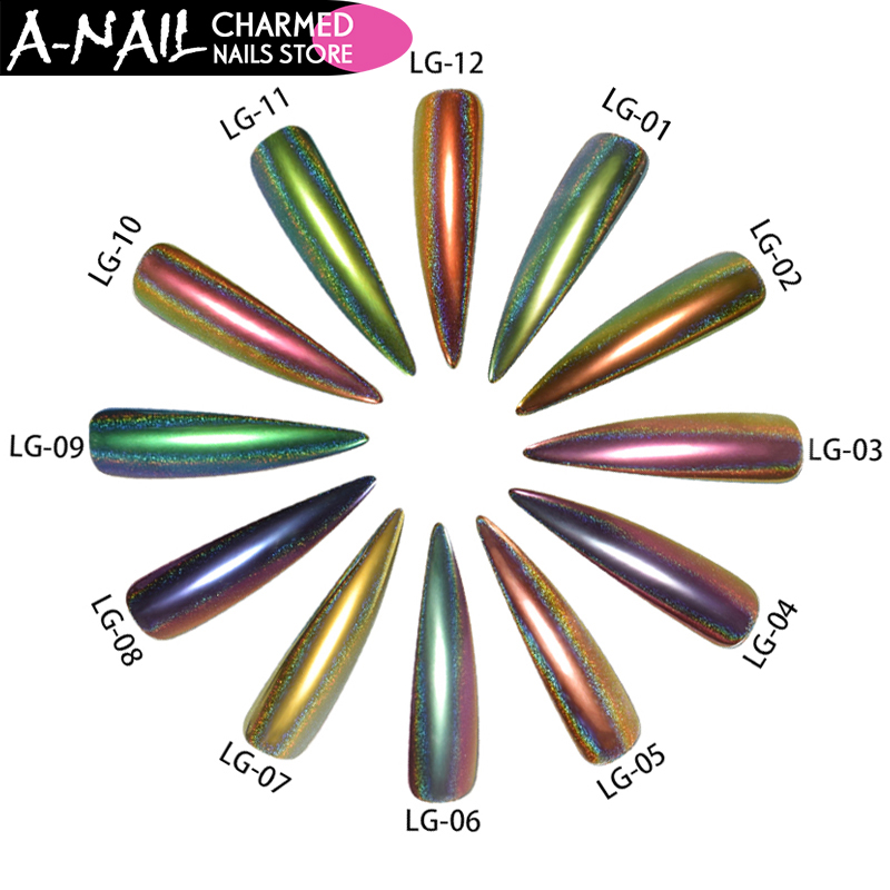 все цены на  A-NAIL 12 boxes/set 12 colors Holographic Peacock Chrome Pigment Chameleon Nail Glitter Holo Laser Powder Nail Art Decorations  онлайн