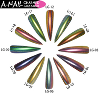 12boxes Set 12colors Peacock Holographic Chameleon Nail Glitter Powder Mirror Holo Laser Pigment Manicure Nail Art