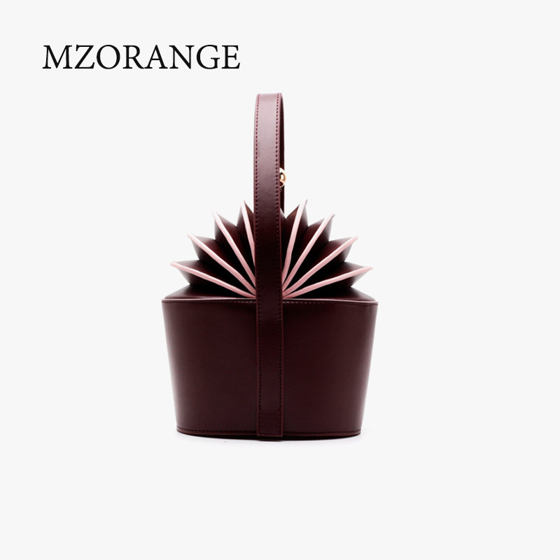 2018 New design Genuine Leather Women Handbag Cowhide Basket Pineapple Organ Tote Carrying Small Bucket Bag Bizarre Shapes striped travelling carrying bag for cats small