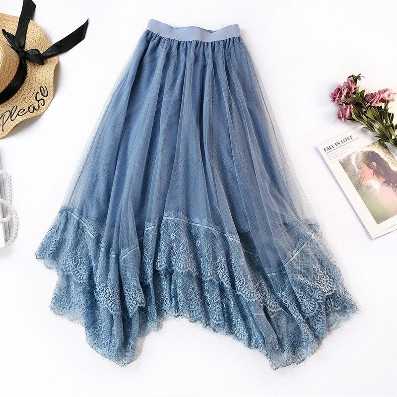 7ec3210d0 Faldas de tul para mujer 2019 Sping elástico de cintura alta Falda plisada  mujeres Negro Azul ...