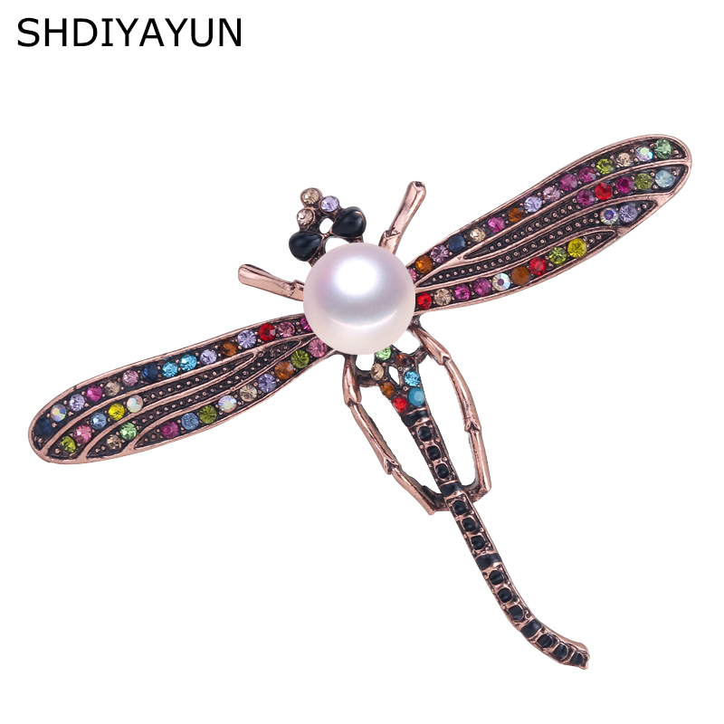 SHDIYAYUN New High Guality Pearl Brooch Dragonfly Brooch For Women Vintage Brooch Pins Natural Freshwater Pearl Jewelry Gift in Hair Jewelry Brooches Body Jewelry from Jewelry Accessories