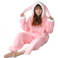 Animal Cat Flannel Adult Pajamas Wholesale Kigurumi Pyjamas Women Kawaii Hooded Sleepwear Winter Warm Homewear Pigiama Donna