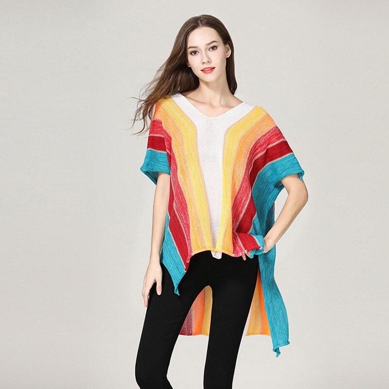 Arc-en-ciel couleur femmes lâche pulls pulls O cou à manches courtes hauts printemps automne pulls dames tricotés pulls
