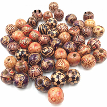 7mm-23mm Assorted Mixed Pattern Wooden Round Bead Loose Spacer For Charm Bracelet Wholesale