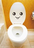 Removable Vinyl Waterproof Smiley Face Toilet Decal Wall Mural Art Decor Funny Bathroom Sticker Gift Tiolet