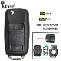 KEYECU 10x 434MHz ID48 Chip 1K0 959 753 G / 1K0 959 753 N Flip 3 Button Remote Key Fob for Volkswagen, for Skoda, for Seat
