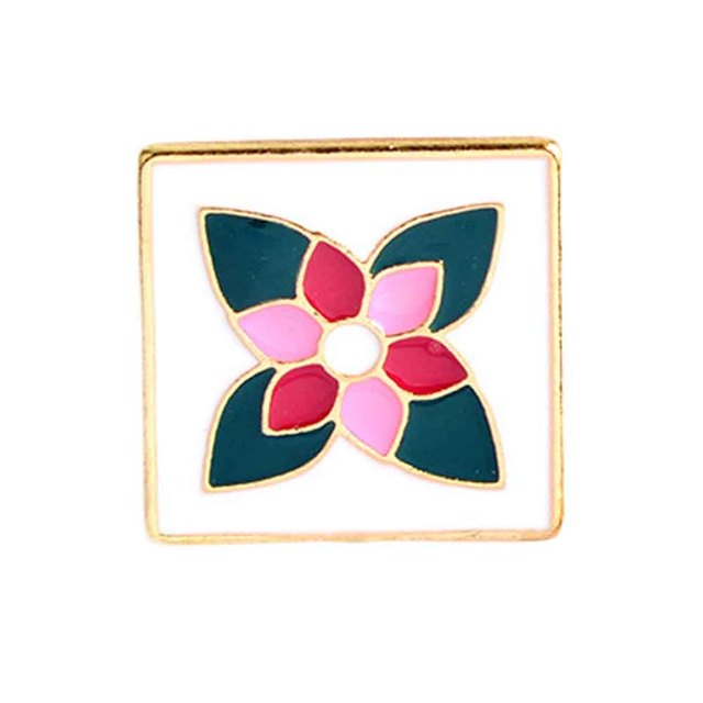 Chinese Style Enamel Porcelain Brooch For Women