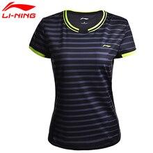Li-Ning женские рубашки для бадминтона, дышащие, обычные, спортивные футболки с подкладкой, футболки AAYM132 WTS1294
