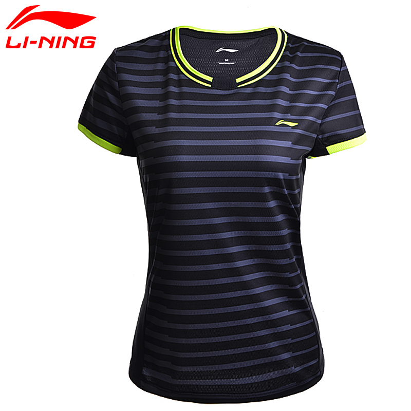 Li-Ning Womens Badminton Shirts AT DRY Breathable Regular Fit Sports T-Shirts LiNing Tee AAYM132 WTS1294